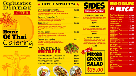 Bi Color Bright Digital Menu Board Template For Restaurants