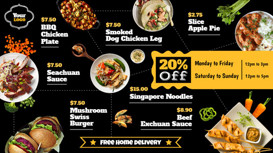 black and yellow digital menu board design for restaurants