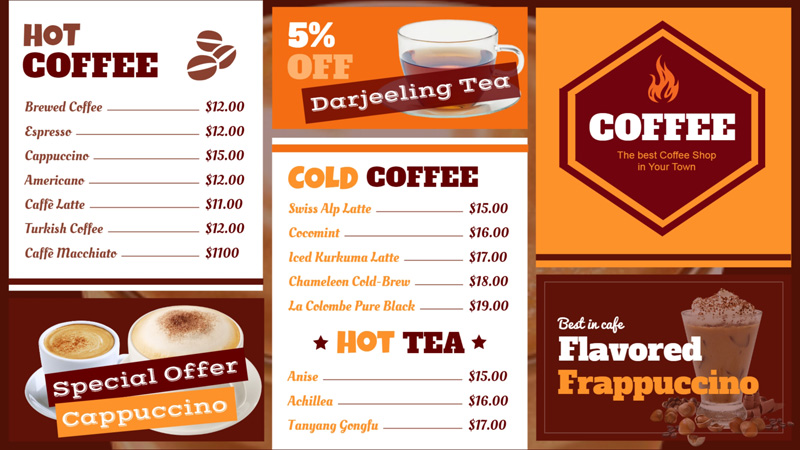 Coffee shop menu board for restaurant