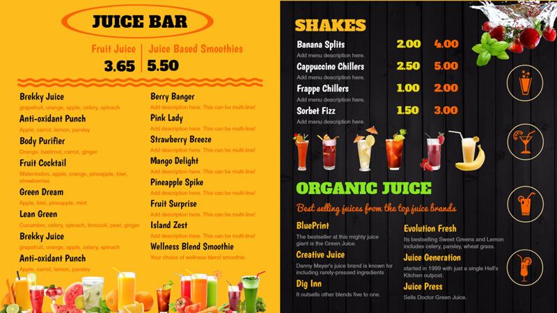 Juice menu board for restaurants