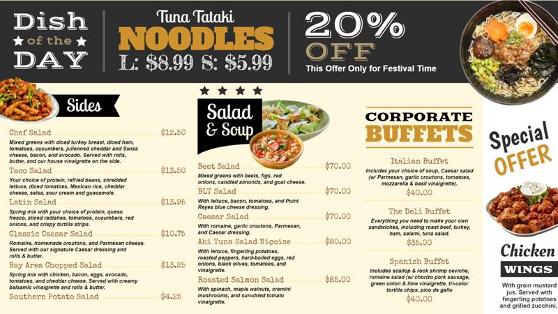 Noodls menu board for restaurants