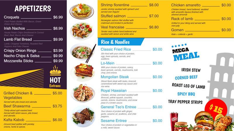 Restaurant menu board for digital signage