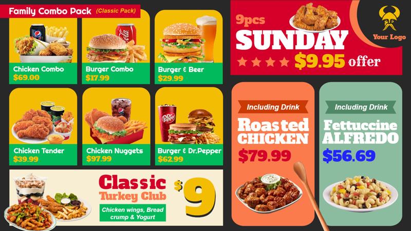 Take away menu board for restaurant sign menu