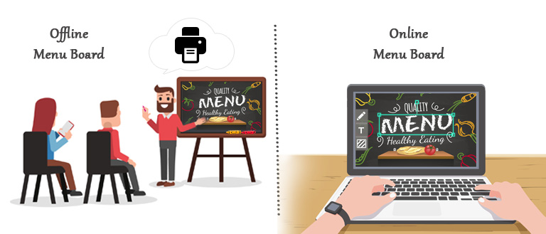 Digital menu boards designing versus offline designing