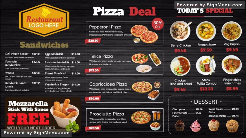 Signmenu digital signage template of arestaurant menu this template is best showcased on a digital menu board digital menus are the in thing today for quick service restaurants the compelling visuals and maxwellsz