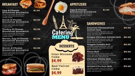 Black menu board with food images