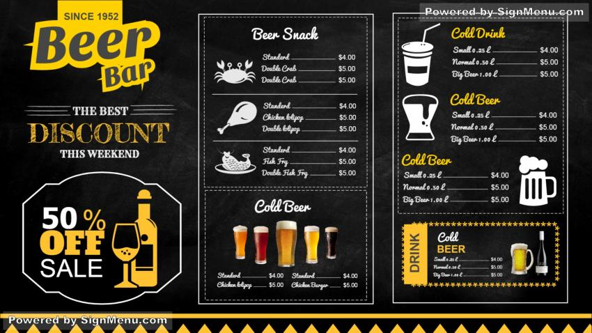 signmenu   digital signage template of a beer bar chalk menu