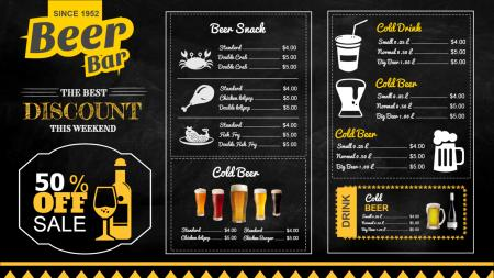 Template of a Beer Bar Chalk Menu Board