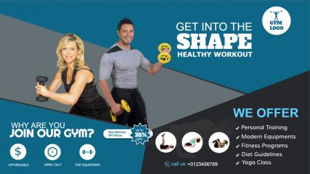 Digital signage template of a Gym