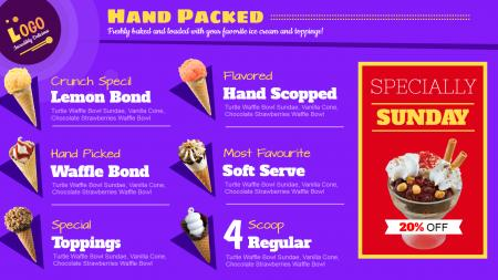 Hand packed ice-cream menu board