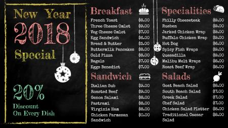 Template of a Burger Restaurant with New Year offers