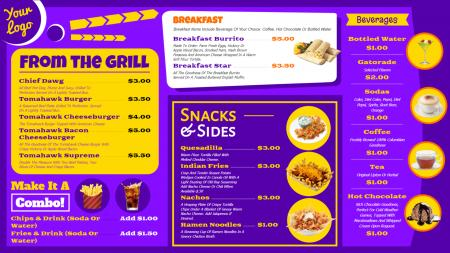 Vibrant restaurant menu board design