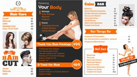 Orange and black salon signage design