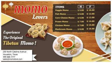 Template of a Momo Menu