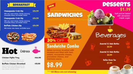 Colorful multipurpose restaurant menu board