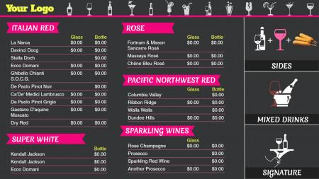 Dark gray wine menu board for digital signage