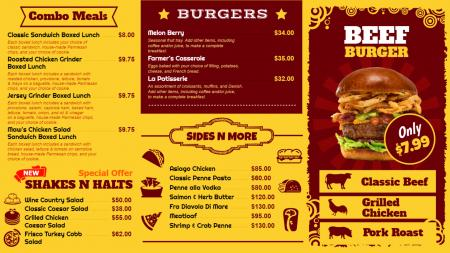 Bistro grill menu board template