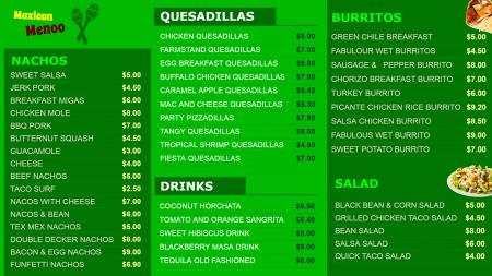 Color template of Mexican Restaurant