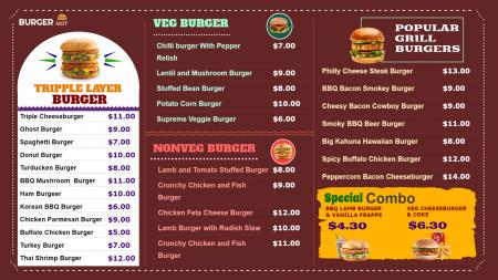 Digital menu board for Burgar shop