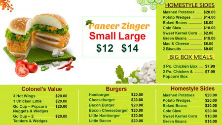 Fast Food menu board for digital signage