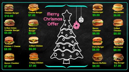 Digital signage Burger menu for Christmas