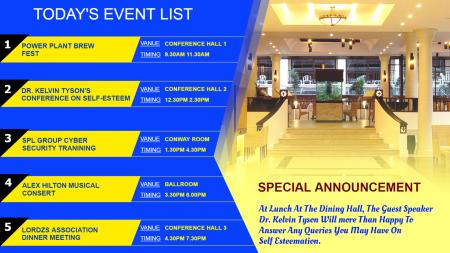 Event list digital signage for hotel