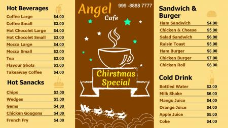 Template of a Cafe with Christmas Offerings