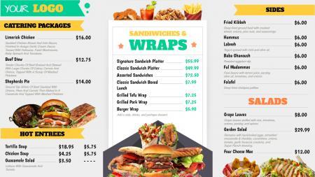 Complete restaurant menu board