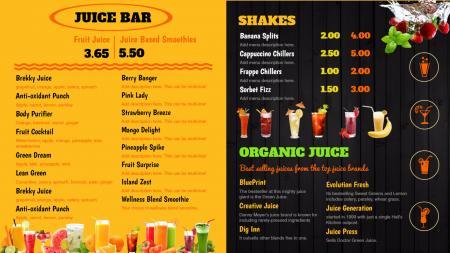 Colorful juice bar template