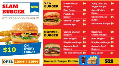 Slam Burger Restaurant Menu Board