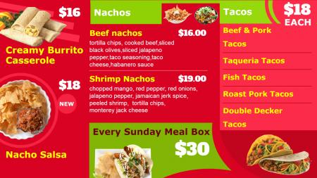 Digital Signage for Mexican Food Display