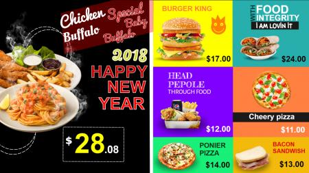 New Year Theme for Restaurant Menuboard