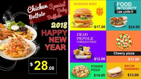 New Year Theme for Restaurant Menuboard