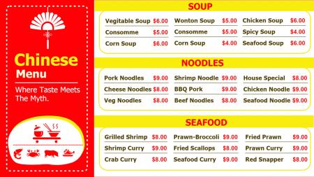 Chinese Food Menu Board