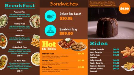 Video menu board for restaurants