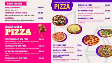 Pizza shop menu board template