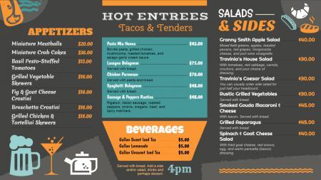 Gray restaurant menu board design