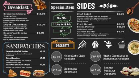 Black chalkboard menu board