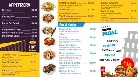 Multi color restaurant menu board