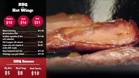 BBQ digital video menu board
