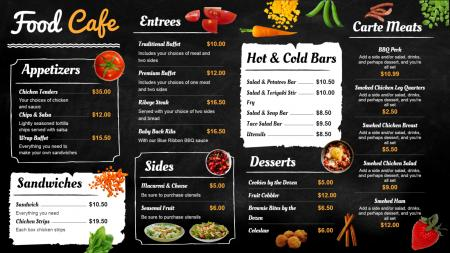 Black food cafe menu board