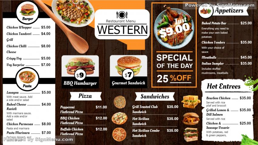 signmenu   digital signage menu board with graphics