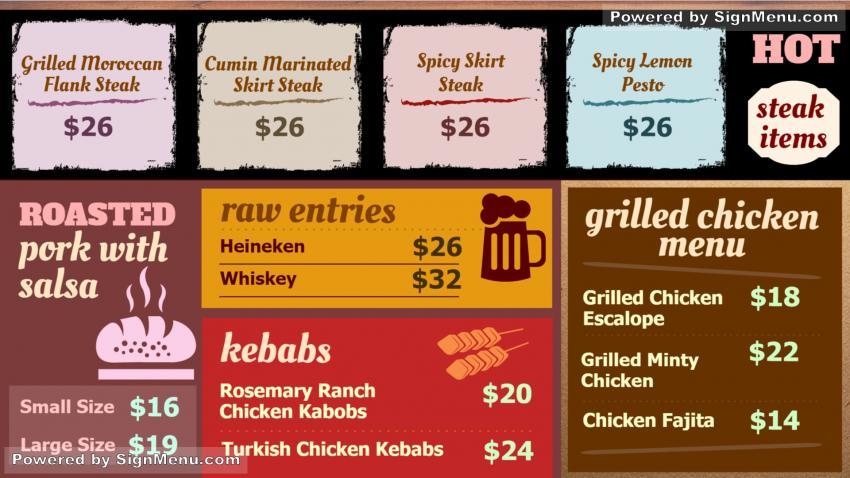Signmenu Steak Grilled Menu Board Design Template - Menu board design templates