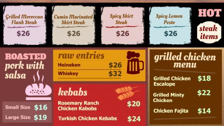 Steak Grilled Menu Board Design Template