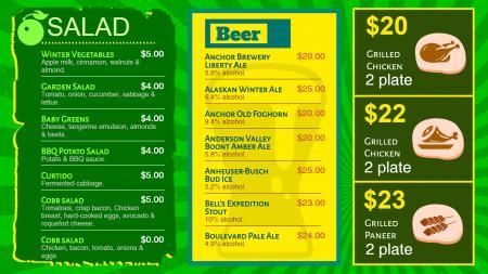 Signage Menu board for Food Menu