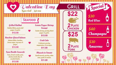 Valentine day special menu(fast food)