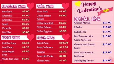 Valentine day Spacial Menu Board