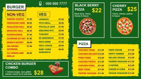 Fast food (burger, pizza) Menu Board