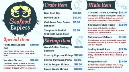 Sea Food Menu Board Design