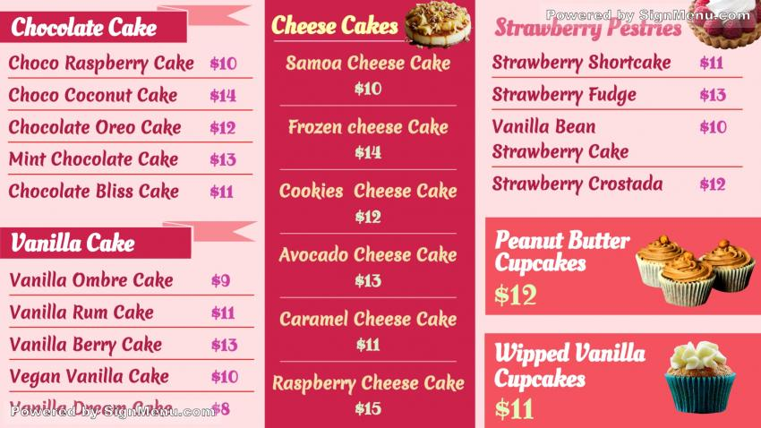 Signmenu Cake Pastry Digital Signage Sample Menu Design